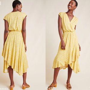 Anthropologie Maeve Fete Midi Dress in yellow